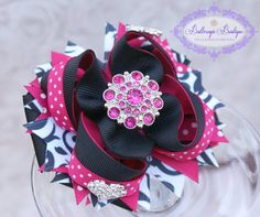 Layered boutique bow, pink and black hair bow, large hair bow Pink And Black Hair, Black Hair Bows, Large Hair Bows, Diy Headband, Headbands, Cute Bows, Big Bows, Headband Hairstyles, Girl Hairstyles