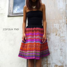 Original Patterned Geometric Colourful Flower Hmong Hill Tribe Skirt by corauxmeiBoutique