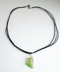 Recycled Green Glass Copper Spiral Necklace by Serendipitini, $12.00 https://www.etsy.com/listing/102581978/recycled-green-glass-copper-spiral