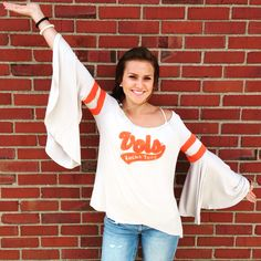 Rocky top cutie! In this Judith March bell sleeve top and needle punch design