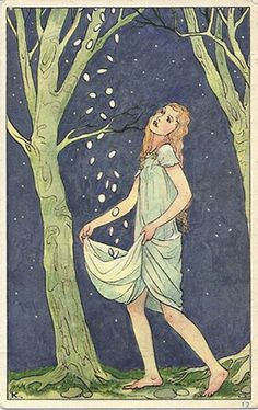 """Star catcher"" German postcard,1920s-30s."