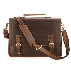 053558c190 Kattee Vintage Genuine Leather Briefcase Messenger Bag