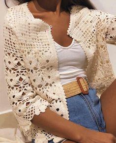 Gilet Crochet, Crochet Jacket, Crochet Cardigan, Crochet Top, Finger Crochet, Crochet Fashion, Crochet Clothes, Look, Crochet Patterns