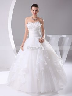 Beaded Strapless Organza Wedding Gown with 3D Flower