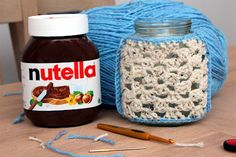 "am i a dreamer? Jazz up an empty Nutella jar. Create a cute crochet cosie using the ""Granny Square"" technique. A great place to store your hooks!"