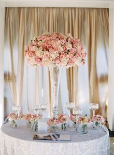 Pink and White Flowers in Tall Fluted Vase