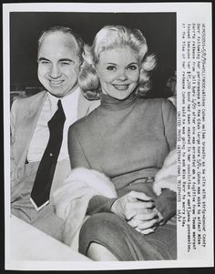 Mickey Cohen with strip-dancer Candy Barr at Club Largo. 1959.