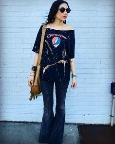 Get this look: http://lb.nu/look/8090694  More looks by Rachel South: http://lb.nu/user/915910-Rachel-S  Items in this look:  The Punk Trunk Vintage  Vintage Tee, Free People Bellbottoms