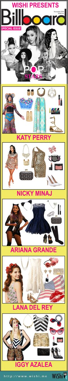 Have you updated Billboard ranking lately? We've got you covered. Here is some costume ideas from Billboard Pop Stars inspiration. Check out how to be next Katy Perry, Nicky Minaj, Ariana Grande, Lana Del Rey, Iggy Azalea. #Billboard #Popstars #halloweencostumes