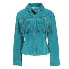 Scully Turquoise Suede Jacket with Conchos and Fringe at Maverick Western Wear