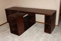 Diy office with t shaped countertop and built in cabinets 2 person desk do it yourself home projects from ana white more solutioingenieria Gallery