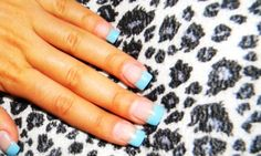 Baby blue tips with silver line underneath and starfish on ring fingers, maid of honor