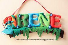 Nombre de fieltro personalizado para Irene, tematica Brave, Mérida / Name felt custom http://accesoriosdulcescaramelos.blogspot.com.es/2014/09/nombre-de-fieltro-personalizado-de.html