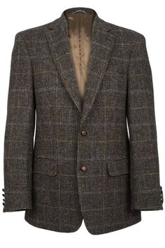 Connoisseur Harris Tweed Jacket in pinpoint blue with tan overcheck.