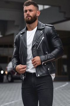 Mens Leather Pants, Tight Leather Pants, Leather Jacket Outfits, Biker Leather, Black Leather, Leather Jackets, Motard Sexy, Motorcycle Outfit, Mens Clothing Styles
