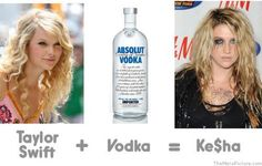Taylor Swift plus vodka times stupid equals Kesha. Absolut Vodka, Taylor Swift, Vodka Humor, Thing 1, Have A Laugh, Favim, Just For Laughs, Laugh Out Loud, The Funny