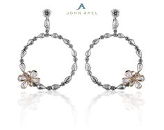 Signatures #21024 John Apel Signature platinum and rose cut diamond earrings with an accent butterfly in rose gold. #bridal #diamond #earrings #jewelry #platinum