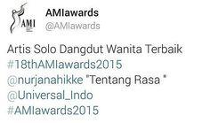 Tahniah atas pencapaian @nurjanahikke dengan lagu #tentangrasa @ade_govinda dinobat sebagai Artist solo Dangdut Wanita Terbaik di Anugerah Musik Indonesia 2015  #AmiAwards2015