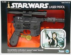 Han Solo Blaster Had this as a kid. Loved it. Brother gave my toy to his friend. and the version did not have a orange tip. Star Wars Guns, Star Wars Art, Retro Toys, Vintage Toys, 1980s Toys, Han Solo Blaster, Figuras Star Wars, Star Wars Figurines, Star Wars Han Solo