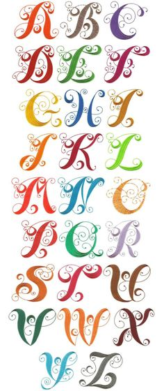 Elegant Curly Monogram Alphabet by Designs by JuJu Embroidery Embroidery Monogram, Embroidery Fonts, Embroidery Applique, Machine Embroidery Designs, Embroidery Patterns, Embroidery Alphabet, Embroidery Jewelry, Creative Lettering, Lettering Styles