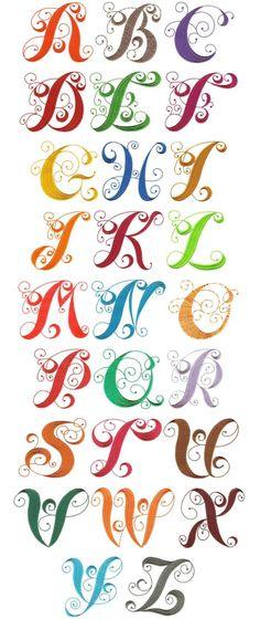 OregonPatchWorks.com - Sets - Elegant Curly Monogram Alphabet