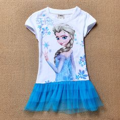 Free shipping Hot sale Elsa and anna frozen dresses girl  the snow queen baby girl prince ruffle dress