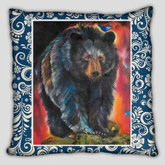 Bear Pillow with Blue Background