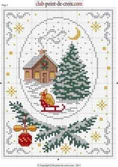 Cabin, tree, & sleigh  Point de croix Xmas. Cross-stitching pattern
