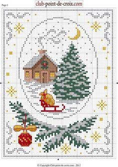 Cabin, tree, & sleigh  Point de croix Xmas. Cross-stitching pattern