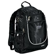 "Storm Player Book Bag  This multi-purpose book bag can be utilized for your bowling shoes, accessories, and other personal items when bowling and moving pair to pair. One Size 600 Denier Polyvinyl / 420 Denier Dobby Polyvinyl fabric Single Main Compartment Dual-Side Mesh Water Bottle Pockets Front Pocket With Organizer Panel Color: Black Dimensions: W:11"" x D:8"" x H:18"" 90-day Limited Warranty"