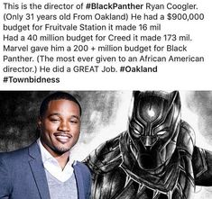 Black History month day 21 I will like to honor one of the greatest film directors and screenwriters ever Ryan Coogler. Ryan directed and wrote Fruitvale Station Creed and Black Panther three of the best movies to ever hit the screens. Black History Facts, Black History Month, Model Tips, Dc Movies, Black Pride, My Black Is Beautiful, African American History, Black People, Black Panther