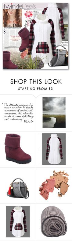 """""""Twinkledeals - Cable Knit Plaid Trim Sweater"""" by astromeria ❤ liked on Polyvore featuring Sirena and Ballard Designs"""
