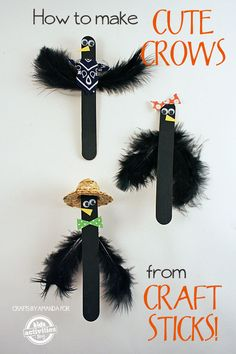 How to Make Craft Stick Crows So cute for halloween! How to Make Craft Stick Crows Craft Stick Projects, Craft Stick Crafts, Preschool Crafts, Crafts To Make, Arts And Crafts, Craft Sticks, Puppet Crafts, Popsicle Stick Crafts, Popsicle Sticks