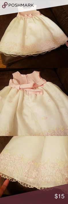 A baby white and pink lace dress White and pink dress only worn once with tiny pink flowers and these are the bottom goodlad Dresses Casual