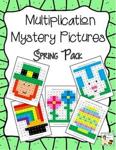 Fun way to practice multiplication! Mystery Pictures - Spring/St. Patrick's Day/Easter pack. $