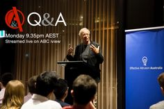 Via Effective Altruism Australia >>> Peter Singer Returns to Q&A at 9:30pm AEDT tonight!  The EA Aus launch team will be live in the audience with questions about effective giving. Catch them on twitter @EA_Aus