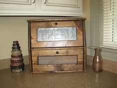 Rustic Bread Box Vegetable Bin Storage by dlightfuldesigns on Etsy, $69.00 Vegetable Storage Bin, Vegetable Bin, Bin Storage, Rustic Bread Boxes, Walnut Stain, Cubbies, Country Kitchen, Wood Grain, Cupboard