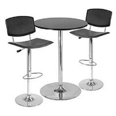Pub Table Mirror Polish Chrome Base Lift Mechanism Fiberboard Top Bar Fuirniture #Winsome