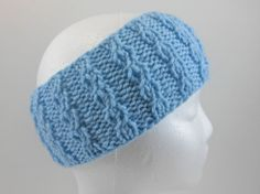 Blue Ear Warmer Men's Women's Winter Headband by SwedetteKnits
