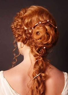 Bride's multiple braid renaissance ginger Wedding hair