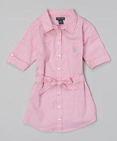 Look what I found on #zulily! Pink Kite Stripe Belted Button-Up Dress - Toddler & Girls #zulilyfinds