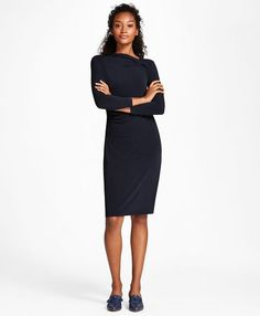 """The Brooks Brothers Women's Collection by Creative Director Zac Posen<br>A bold asymmetrical neckline and figure-flattering ruched sides define this slinky knit sheath. Crafted from smooth jersey and styled with bracelet-length sleeves.<br><br>39"""" center back length; 95% polyester, 5% spandex; machine wash; imported."""