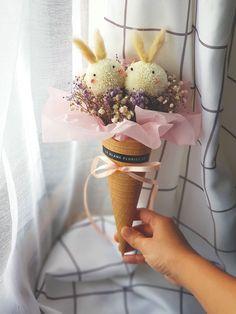 Bunny Ice-Cream Bouquet Fresh Flowers, Bunny, Bouquet, Ice Cream, Spring, Sweet, No Churn Ice Cream, Candy, Gelato