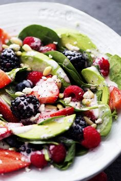 Berry Avocado Salad with Creamy Raspberry Poppyseed Dressing | The Recipe Critic