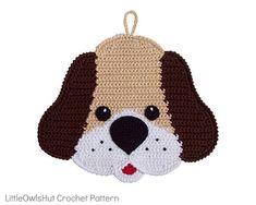 icu ~ 161 Crochet Pattern - Dog Decor or potholder - Amigurumi Crochet Pattern - PDF file by Zabelina Crochet Applique Patterns Free, Potholder Patterns, Crochet Potholders, Pdf Patterns, Crab Stitch, Single Crochet Decrease, Crochet Bookmarks, Small Pillows, Yarn Shop
