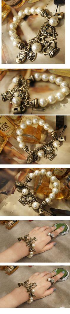 Pulsera de Aleación de Zinc, con Perlas de plástico ABS, chapado en color bronce antiguo, pulsera del encanto, libre de plomo & cadmio, 180x10mm, Vendido para aproximado 7.09 Inch Sarta,Abalorios de joyería por mayor de China