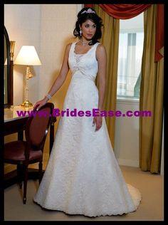 Elegant Slim A-line Tank V-neck Lace Satin Wedding Dresses with Colored Sash