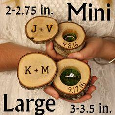 Mini Log Ring Boxes Wedding Ring Box Wood Ring by WoodlandFever