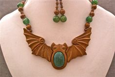 Carved bat and amazonite necklace