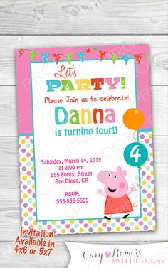 Girl-Peppa Birthday Digital Invitation by SweetDesignsCR on Etsy